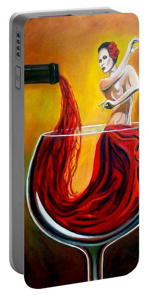Wine Portable Battery Charger featuring the painting My Wine Lady by Jose Manuel Abraham