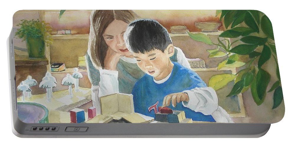 Boy Portable Battery Charger featuring the painting My Work by Marilyn Jacobson