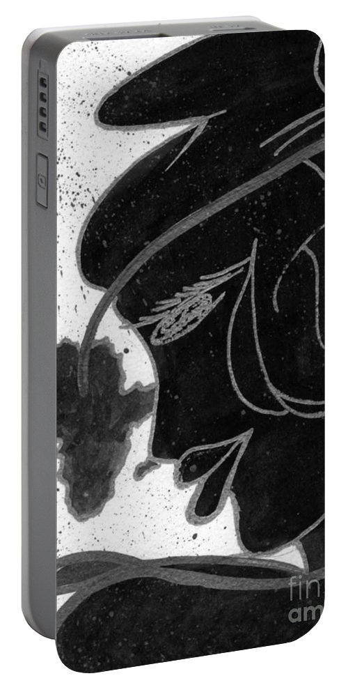 Woman Portable Battery Charger featuring the drawing My World by Angela L Walker
