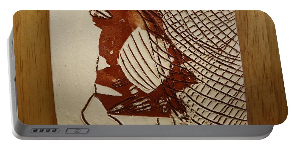 Jesus Portable Battery Charger featuring the ceramic art Myra - Tile by Gloria Ssali