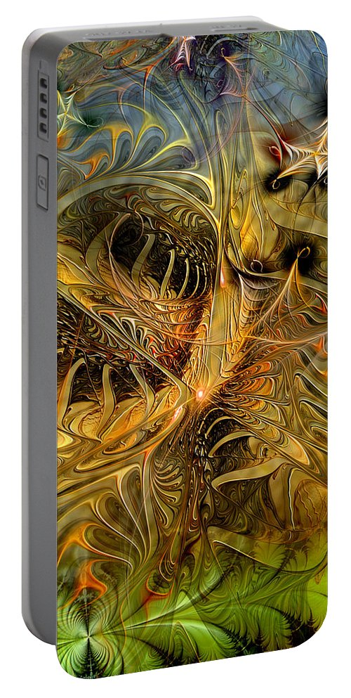 Abstract Portable Battery Charger featuring the digital art Myriad by Casey Kotas