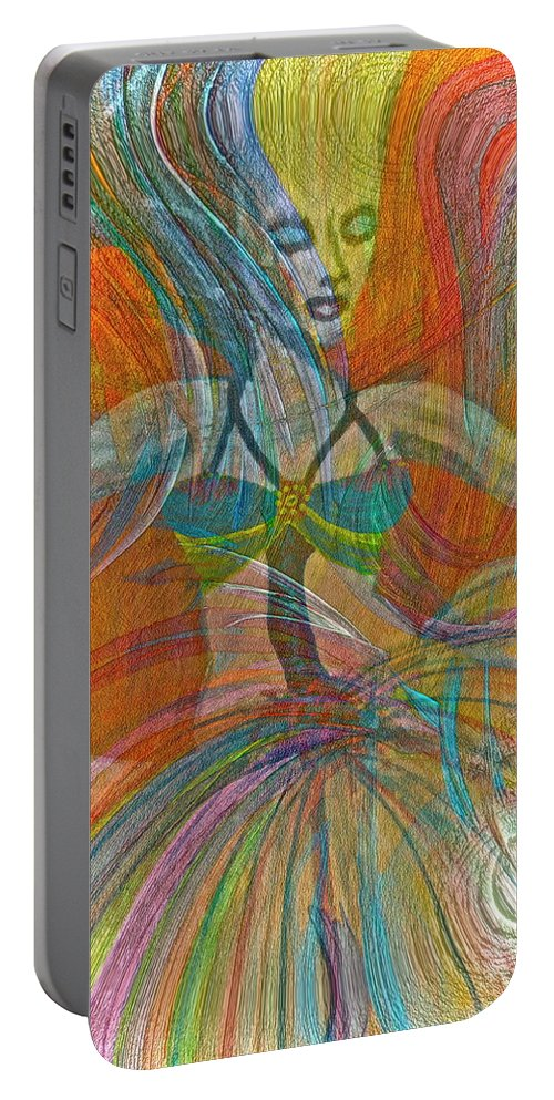 Dance Portable Battery Charger featuring the painting Mysterious Dancer by Gwyn Newcombe