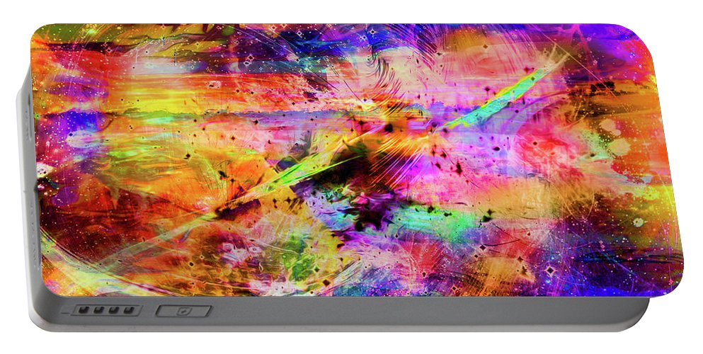 World's Portable Battery Charger featuring the digital art Mysterious Sunset Debris by Ron Fleishman