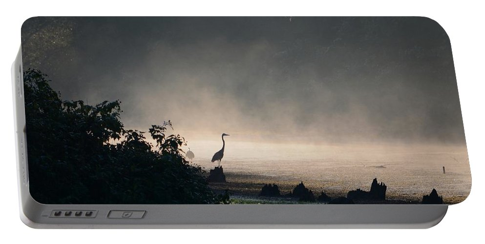 Mist Portable Battery Charger featuring the photograph Mystery Heron by David Irwin