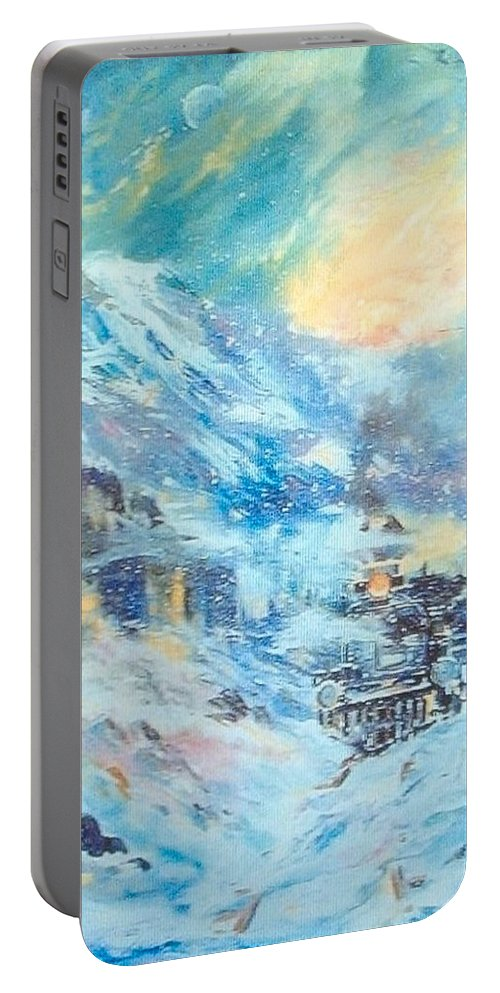 Abstract Train Impression Portable Battery Charger featuring the painting Mystery Train by Gerald Lilly