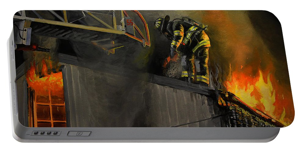Firefighting Portable Battery Charger featuring the painting Mystic Fire by Paul Walsh