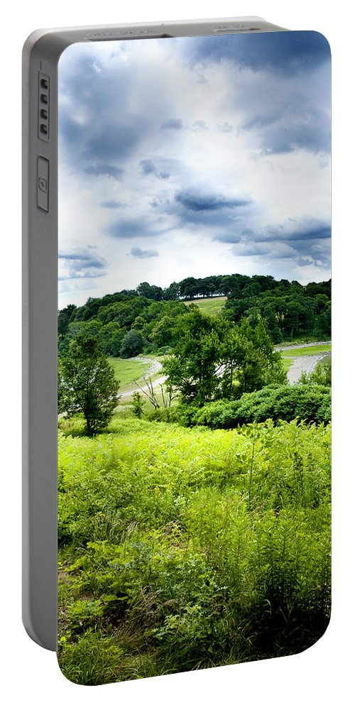 Nature Portable Battery Charger featuring the photograph Mystic Hillside by Greg Fortier