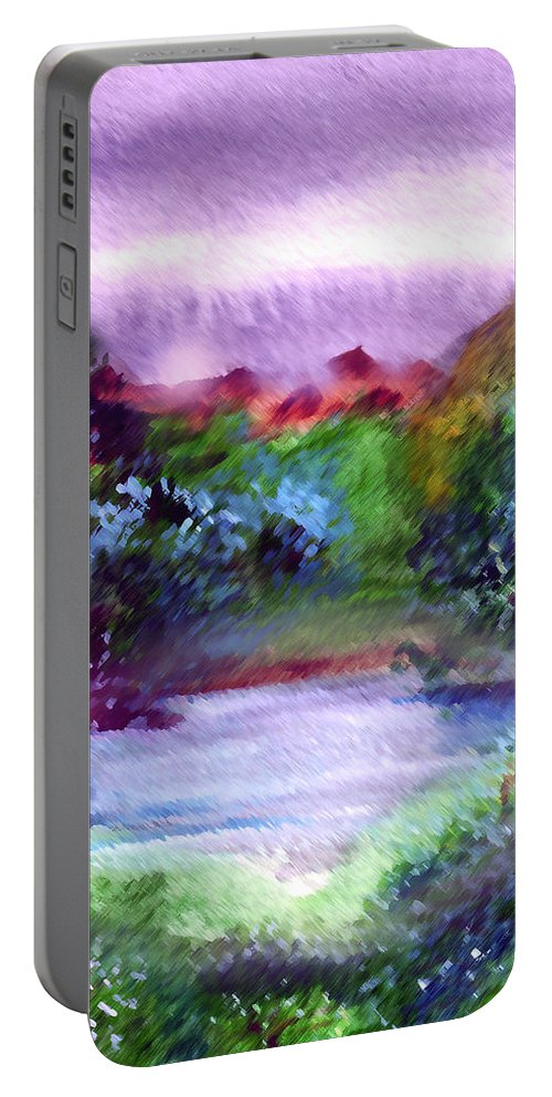 Lake Portable Battery Charger featuring the painting Mystic Lake by Anil Nene