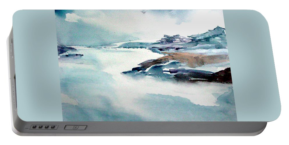 River Portable Battery Charger featuring the painting Mystic River by Anil Nene