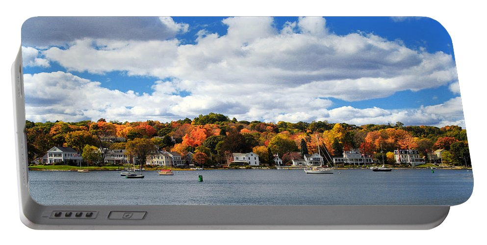 Mystic River Portable Battery Charger featuring the photograph Mystic River In Autumn by Stephanie McDowell