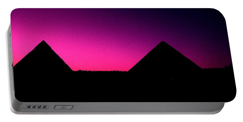 Pyramids Portable Battery Charger featuring the photograph The Pyramids At Sundown by Gary Wonning
