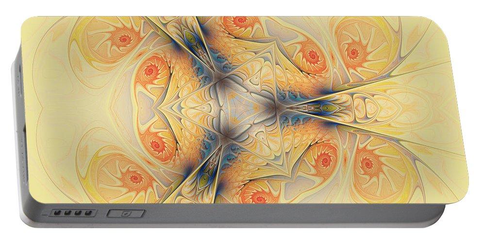 Spirals Portable Battery Charger featuring the digital art Mystical Spirals by Deborah Benoit