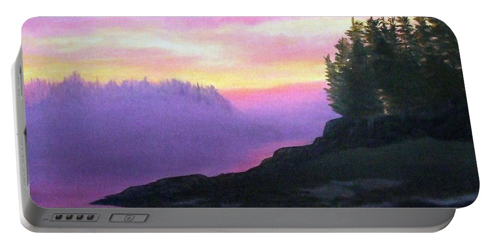 Sunset Portable Battery Charger featuring the painting Mystical Sunset by Sharon E Allen