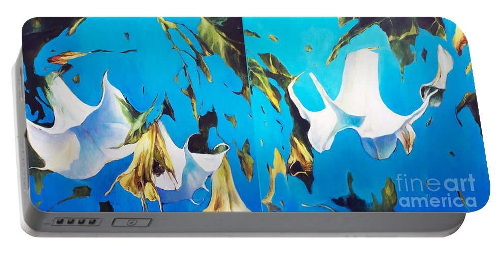 Lin Petershagen Portable Battery Charger featuring the painting Mysticoblue by Lin Petershagen