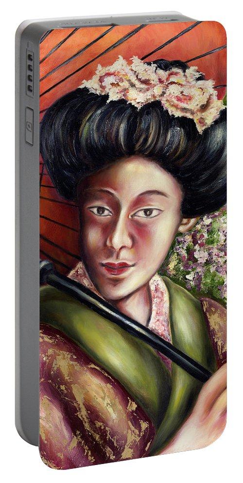 Japanese Portable Battery Charger featuring the painting Nadeshiko by Hiroko Sakai