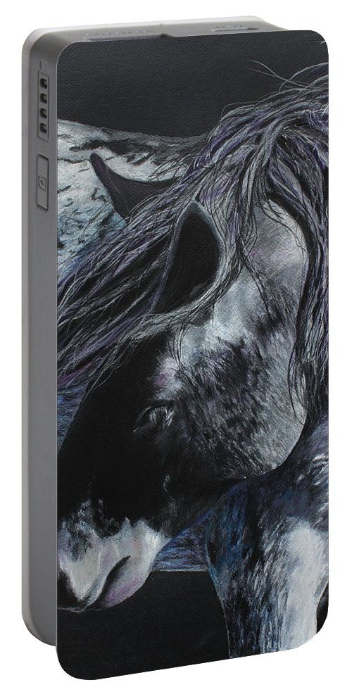 Nokota Horse Portable Battery Charger featuring the painting Nahokey by Jeanne Fischer