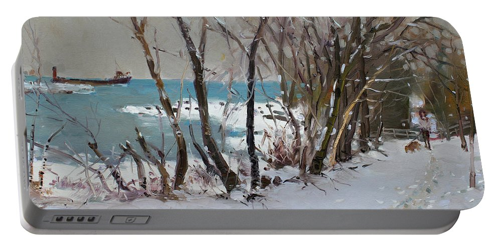 Lake Shore Mississauga Portable Battery Charger featuring the painting Naked Trees By The Lake Shore by Ylli Haruni