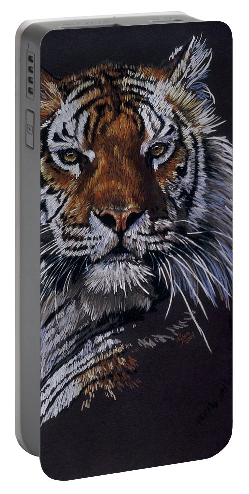 Tiger Portable Battery Charger featuring the drawing Nakita by Barbara Keith
