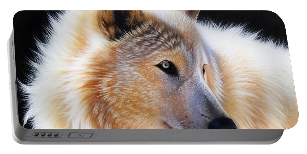 Acrylic Portable Battery Charger featuring the painting Nala by Sandi Baker