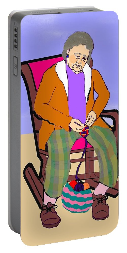 Grandmother Portable Battery Charger featuring the digital art Nana Knitting by Pharris Art