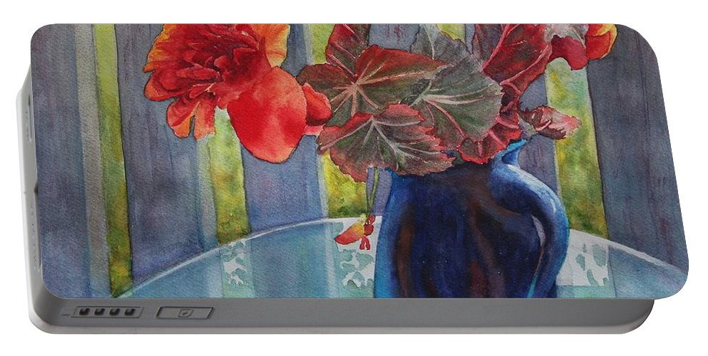 Blue Jug Portable Battery Charger featuring the painting Nancy's Begonias by Ruth Kamenev