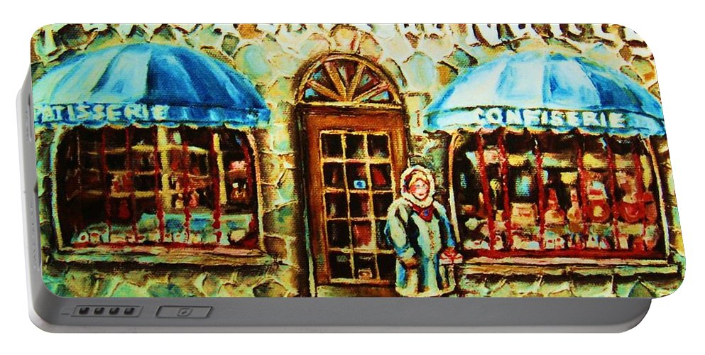 Bakery Shops Portable Battery Charger featuring the painting Nancys Fine Pastries by Carole Spandau