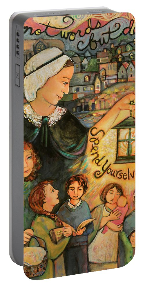 Jen Norton Portable Battery Charger featuring the painting Nano Nagle, Foundress Of The Sisters Of The Presentation by Jen Norton