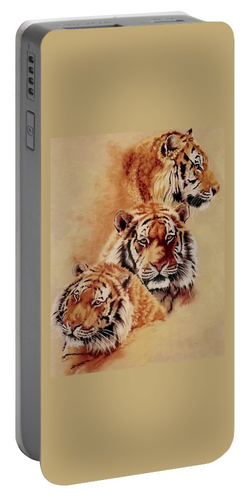 Tiger Portable Battery Charger featuring the pastel Nanook by Barbara Keith