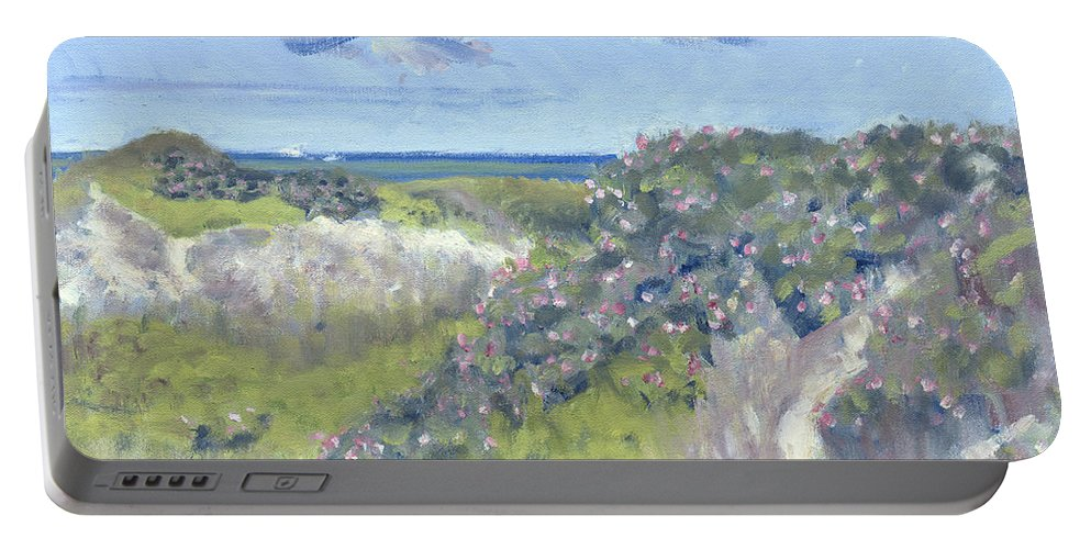 Nantucket Portable Battery Charger featuring the painting Nantucket June Dunes I by Candace Lovely