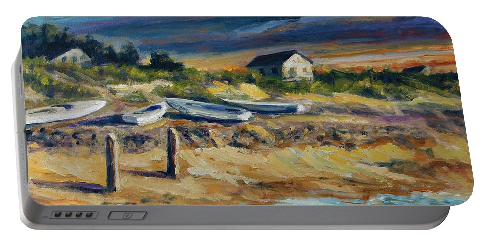 Stormy Clouds Portable Battery Charger featuring the painting Nantucket by Rick Nederlof