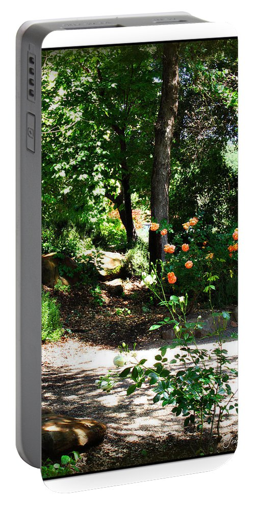 Botanical Portable Battery Charger featuring the photograph Napa Rose Pathway by Joan Minchak