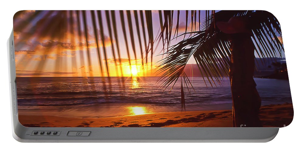 Sunset Portable Battery Charger featuring the photograph Napili Bay Sunset Maui Hawaii by Jim Cazel