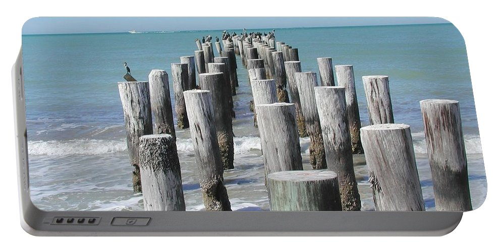 Ocean Portable Battery Charger featuring the photograph Naples Pier by Tom Reynen