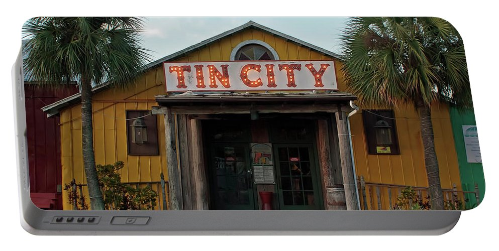 Florida Portable Battery Charger featuring the photograph Naples Tin City - Open For Business by Ronald Reid