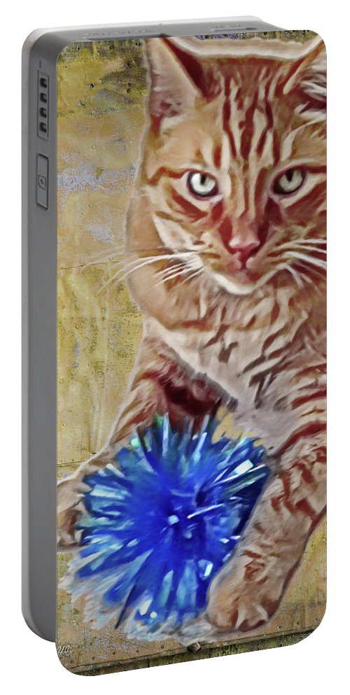 Animal Portable Battery Charger featuring the digital art Napoleon And The Bow by Joan Minchak