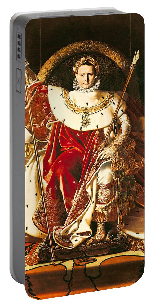 Napoleon Portable Battery Charger featuring the painting Napoleon I On The Imperial Throne by Ingres