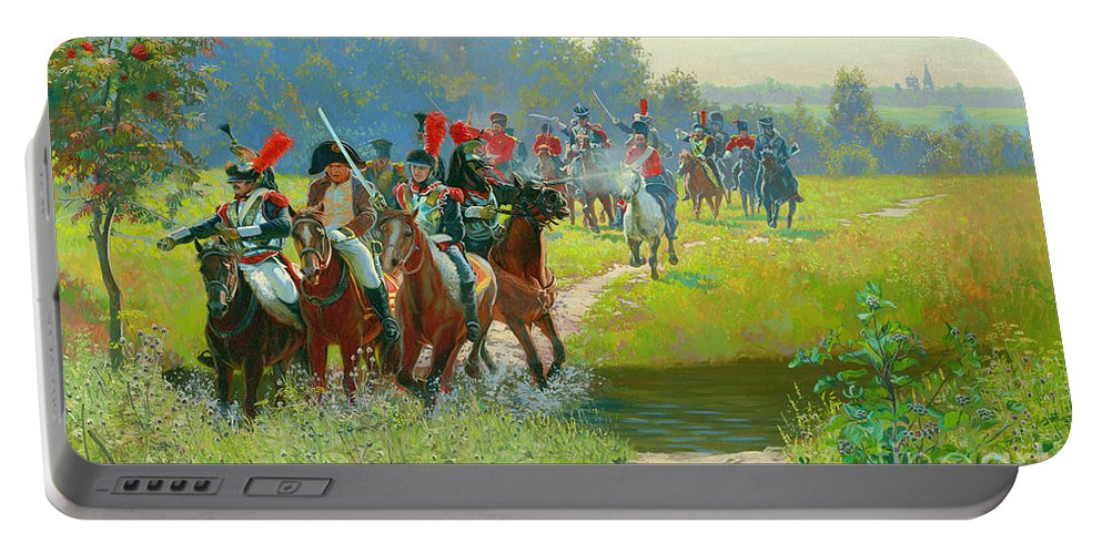 Horses Portable Battery Charger featuring the painting Napoleon by Simon Kozhin
