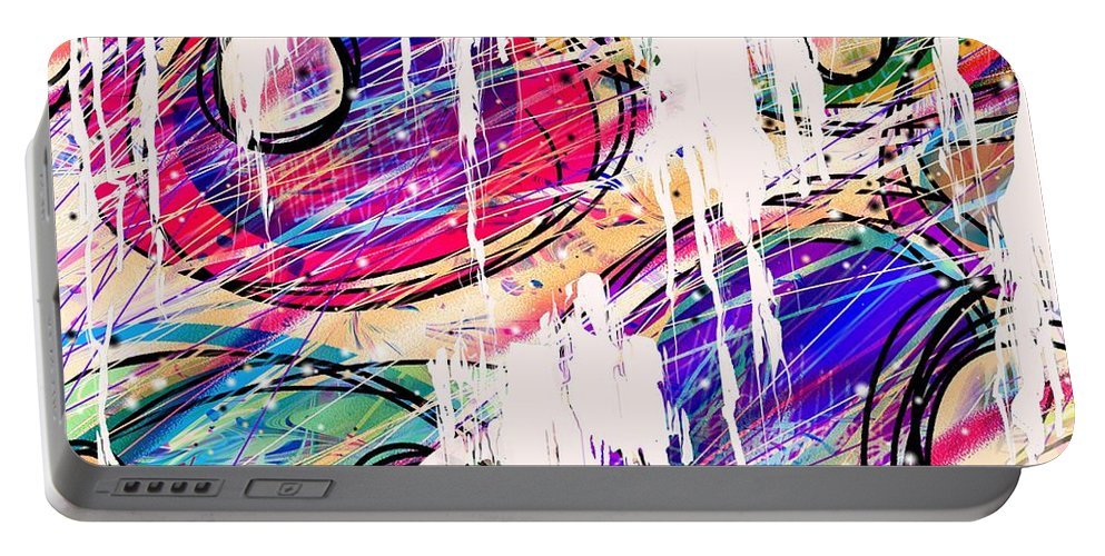 Abstract Portable Battery Charger featuring the digital art Narcotics Of The Mind by Rachel Christine Nowicki
