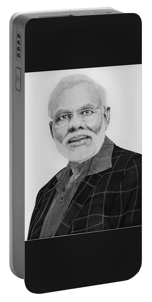 Made By Ball Pen. Portable Battery Charger featuring the drawing Narendra Modi by Amarjeet Singh