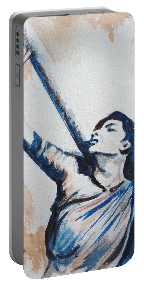 Portable Battery Charger featuring the painting Nargis Bollywood Star by Usha Shantharam