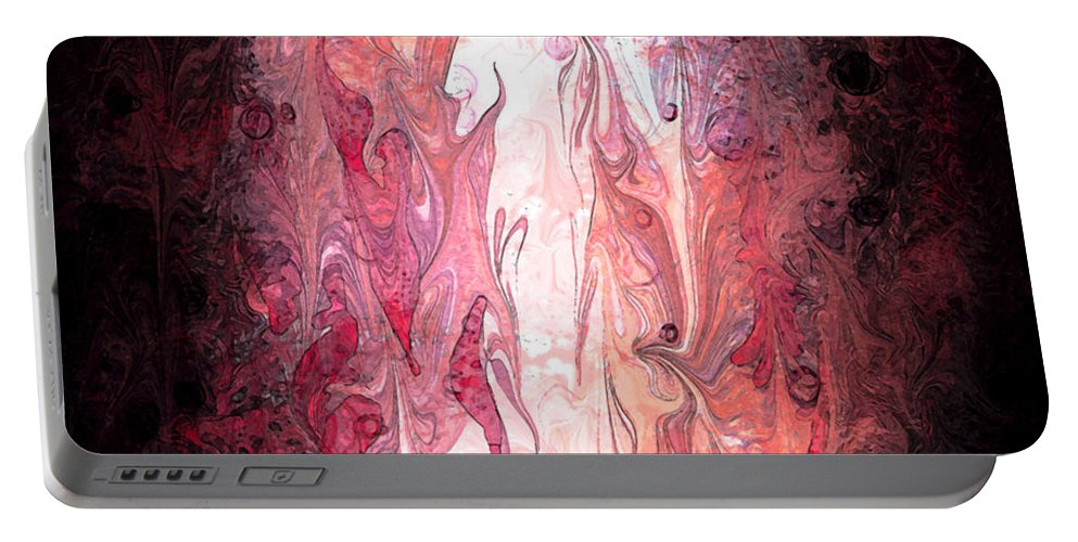Abstract Portable Battery Charger featuring the digital art Narrow Passages by Rachel Christine Nowicki