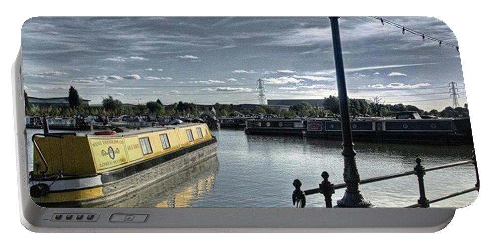 Nature Portable Battery Charger featuring the photograph Narrowboat Idly Dan At Barton Marina On by John Edwards