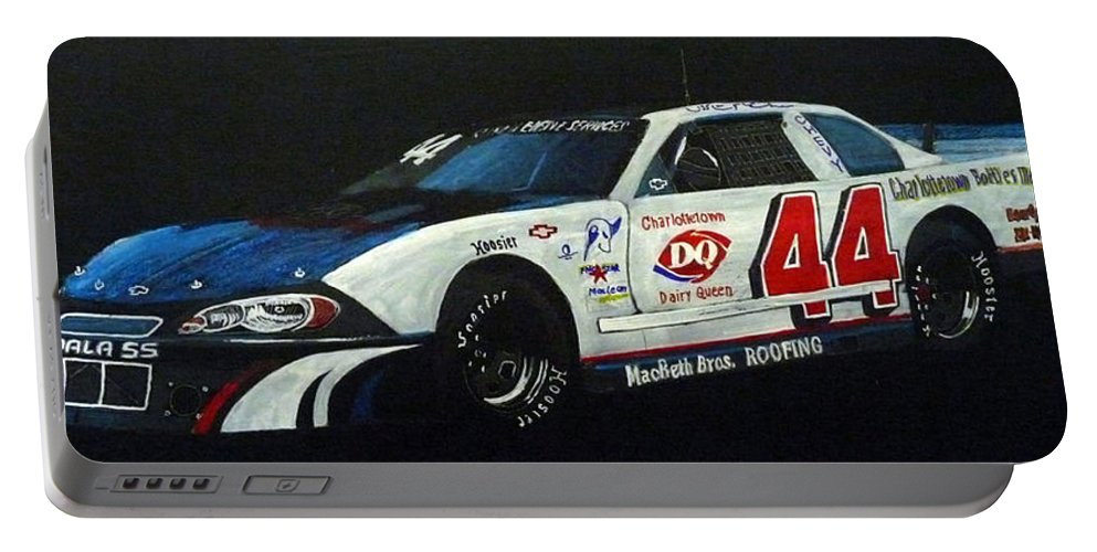 Nascar Portable Battery Charger featuring the painting Nascar No44 by Richard Le Page