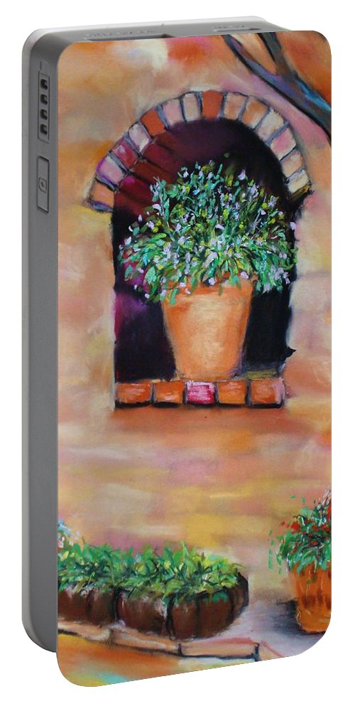 Courtyard Portable Battery Charger featuring the painting Nash's Courtyard by Melinda Etzold