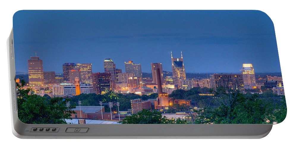 Nashville Portable Battery Charger featuring the photograph Nashville By Night 1 by Douglas Barnett