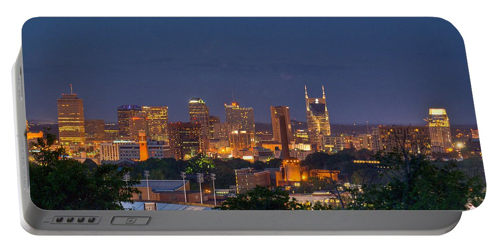 Nashville Portable Battery Charger featuring the photograph Nashville By Night 2 by Douglas Barnett