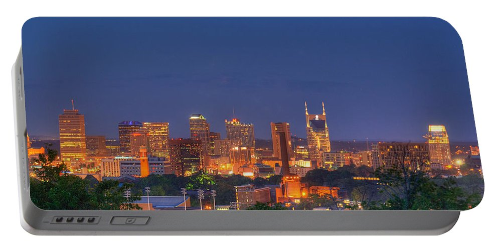 Nashville Portable Battery Charger featuring the photograph Nashville By Night by Douglas Barnett