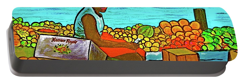Fruit Bahamas Nassau Water Front Black Girl Sitting Fruit Seller Portable Battery Charger featuring the painting Nassau Fruit Seller At Waterside by Frank Hunter