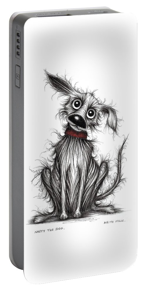Nasty Dog Portable Battery Charger featuring the drawing Nasty The Dog by Keith Mills