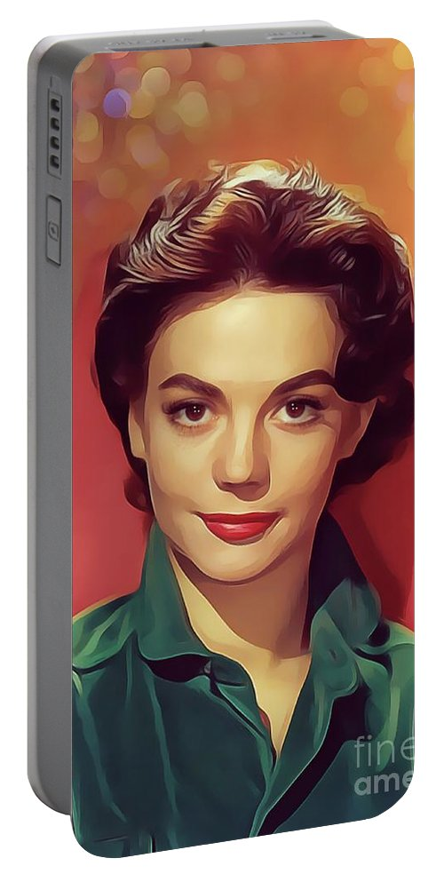 Natalie Portable Battery Charger featuring the digital art Natalie Wood, Vintage Actress by Mary Bassett